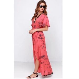Amuse Society Next Level Coral Tie Dye Maxi Dress